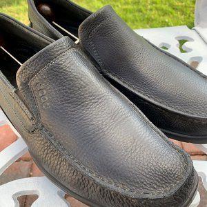 ECCO Black Loafer Moccasin Pebble Grain 43 9/9.5